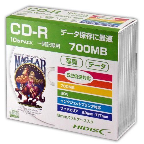 磁気研究所 CD-R HIDISC 700MB 52倍速 データ用 ワイドプリンタブル 5mmスリムケース ホワイトレーベル 10枚 HDCR80GP10SC