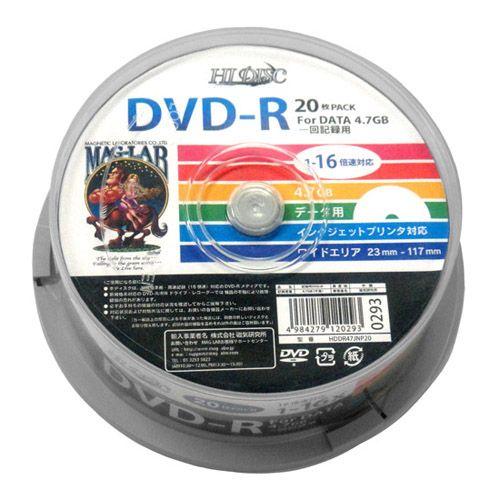 磁気研究所 DVD-R HIDISC 16倍速 データ用 スピンドルケース 20枚 HDDR47JNP20