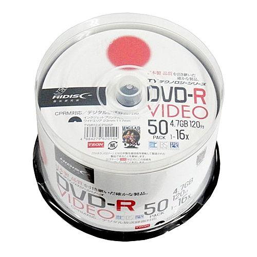 磁気研究所 DVD-R HIDISC 16倍速 録画用 ワイドプリンタブル スピンドルケース CPRM対応 ホワイトレーベル 50枚 TYDR12JCP50SP