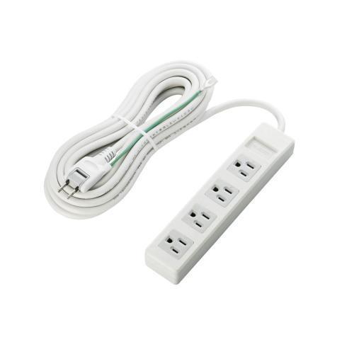 エレコム 電源タップ 3ピン対応タップ スイングプラグ 5m 4個口 グレー T-T01-3450WH/RS
