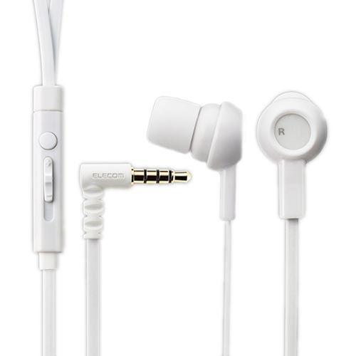 エレコム ステレオイヤホン からまりを防ぐフラットケーブル スマートフォン用ステレオヘッドホン マイク付 iPhone/スマホ対応 1.2m(Y型) 3.5φ4極 ホワイト EHP-CS3520MWH