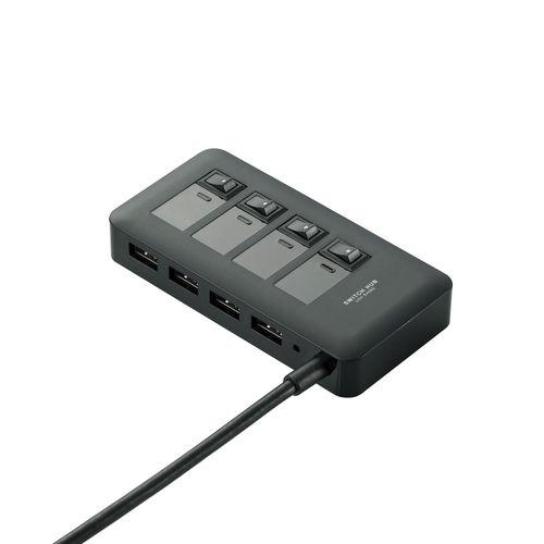 エレコム USBハブ セルフパワー/バスパワー両対応 個別電源スイッチ付 USB3.0対応 マグネット付 4ポート ACアダプタ付 ブラック U3H-S409SBK
