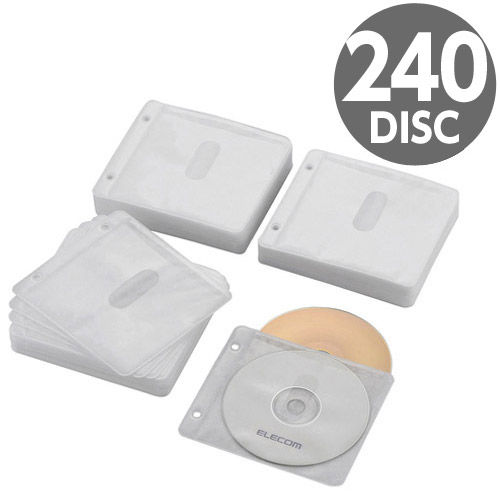 エレコム Blu-ray・CD・DVD不織布ケース 両面収納 2穴 120枚(240枚収納) ホワイト CCD-NBWB240WH