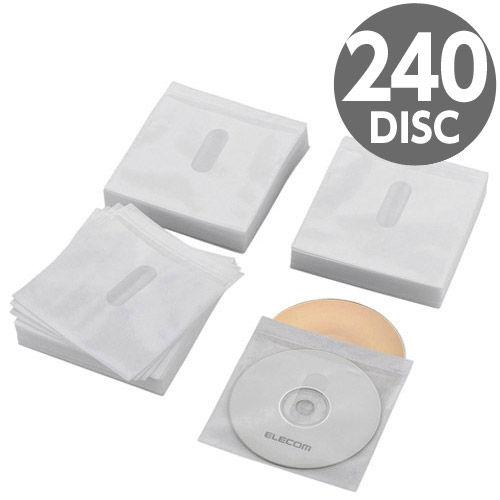 エレコム Blu-ray・CD・DVD不織布ケース 両面収納 120枚(240枚収納) タイトルカード付 ホワイト CCD-NIWB240WH