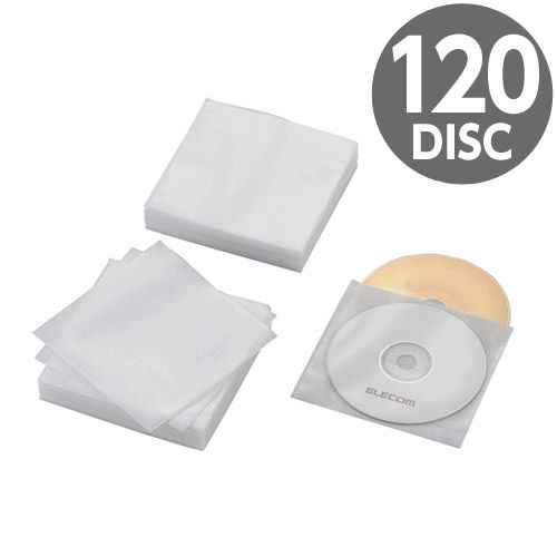 エレコム Blu-ray・CD・DVD不織布ケース 両面収納 60枚(120枚収納) スタンダード ホワイト CCD-NWB120WH