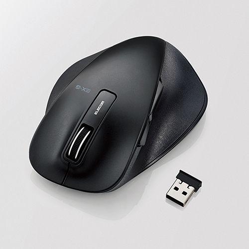 エレコム 無線マウス 握りの極み ワイヤレス BlueLEDマウス 2.4GHz Lサイズ 5ボタン ブラック M-XGL10DBBK
