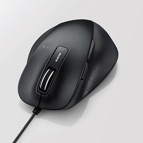 エレコム 有線マウス 握りの極み USB接続 BlueLEDマウス Mサイズ 5ボタン ブラック M-XGM10UBBK