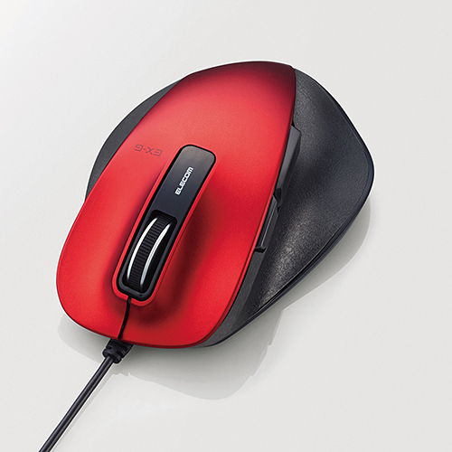 エレコム 有線マウス 握りの極み USB接続 BlueLEDマウス Mサイズ 5ボタン レッド M-XGM10UBRD
