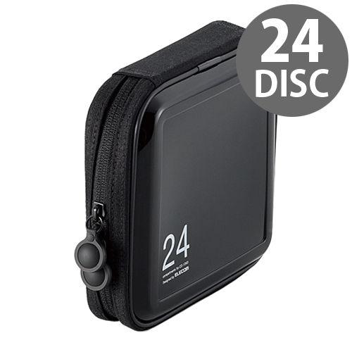 エレコム メディアケース CD/DVDファスナーケース セミハード 24枚収納 ブラック CCD-H24BK