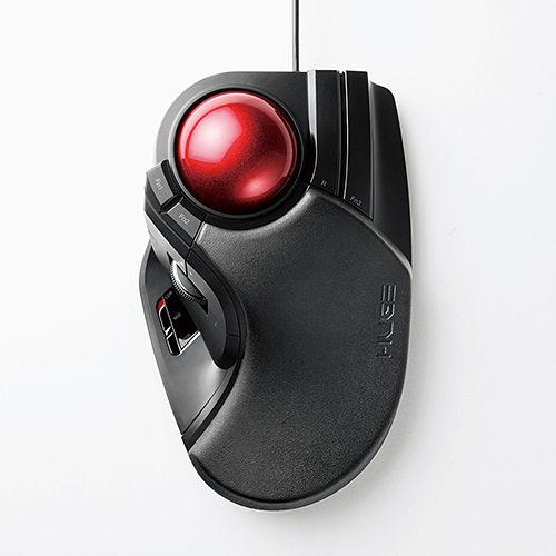 エレコム 有線マウス USB接続 大玉トラックボールマウス 人差し指・中指操作タイプ チルト機能付 8ボタン ブラック M-HT1URBK