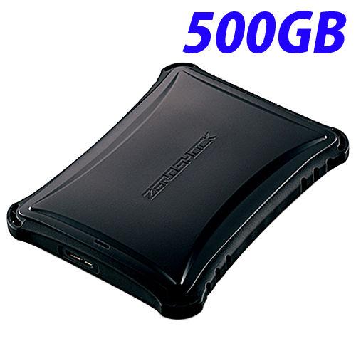 エレコム HDD ZEROSHOCK ハードディスクドライブ USB3.0 500GB TV録画対応 耐衝撃 米軍MIL規格取得 ブラック ELP-ZS005UBK