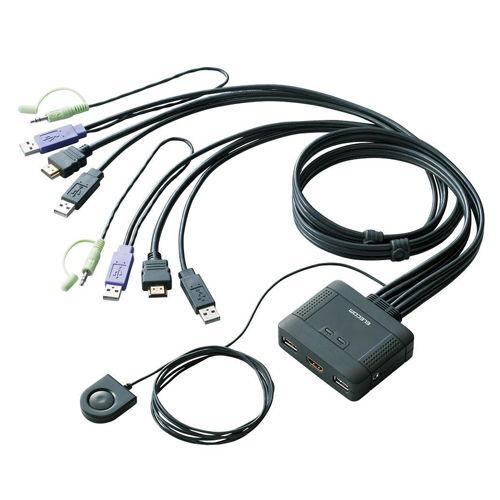 エレコム KVMスイッチ HDMI対応 USBパソコン切替器 スピーカー 手元スイッチ 2台切替用 KVM-HDHDU2