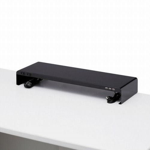サンワサプライ 机上ラック 電源タップ+USBポート付き W600×D200 ブラック MR-LC202BK