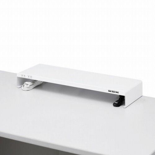 サンワサプライ 机上ラック 電源タップ+USBポート付き W600×D200 ホワイト MR-LC202W