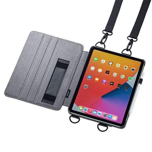 サンワサプライ iPad Air 2020 スタンド機能付きショルダーベルトケース PDA-IPAD1712BK