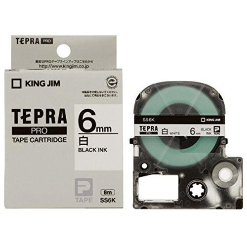 キングジム テープカートリッジ テプラPRO 6mm 白ラベル黒文字 SS6K
