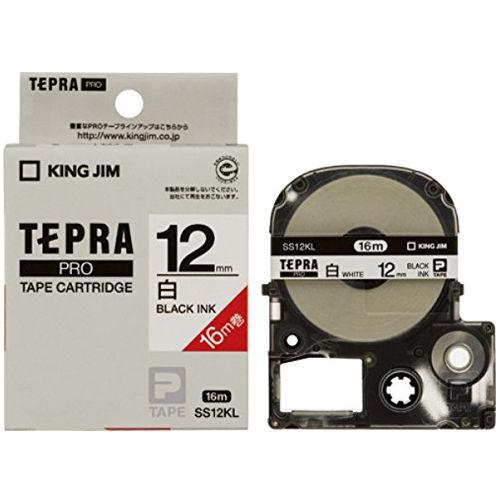 キングジム テープカートリッジ テプラPRO 12mm 白ラベルロングタイプ16M巻黒文字 SS12KL