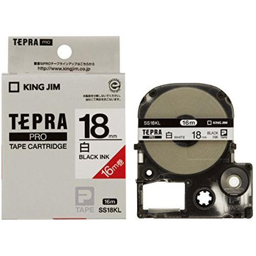 キングジム テープカートリッジ テプラPRO 18mm 白ラベルロングタイプ16M巻黒文字 SS18KL