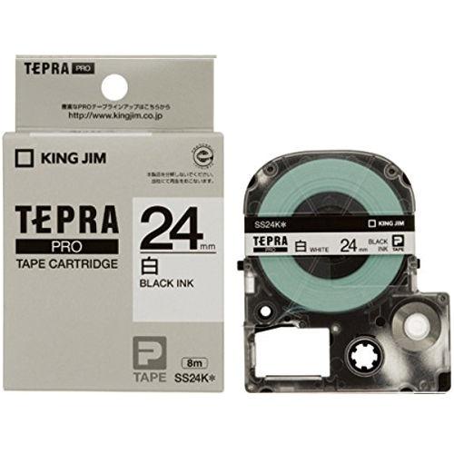 キングジム テープカートリッジ テプラPRO 24mm 白ラベル黒文字 SS24K