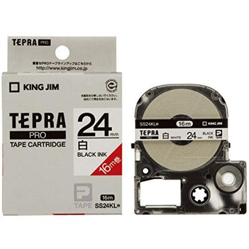 キングジム テープカートリッジ テプラPRO 24mm 白ラベルロング16M巻黒文字 SS24KL