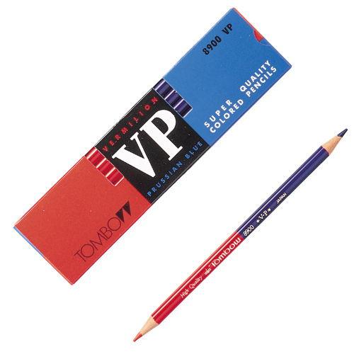 トンボ鉛筆 色鉛筆 丸軸 5:5 赤青(朱藍) 8900-VP