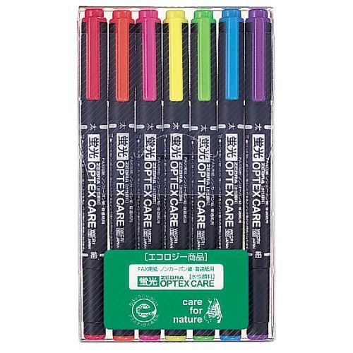 ゼブラ 蛍光ペン 蛍光オプテックスケア 7色 WKCR1-7C