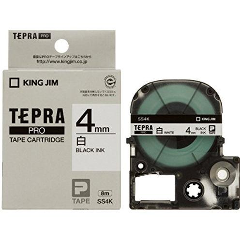 キングジム テープカートリッジ テプラPRO 4mm 白ラベル黒文字 SS4K