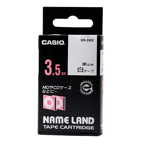 カシオ計算機 テープカートリッジ ネームランド 3.5mm 白 黒文字 XR-3WE