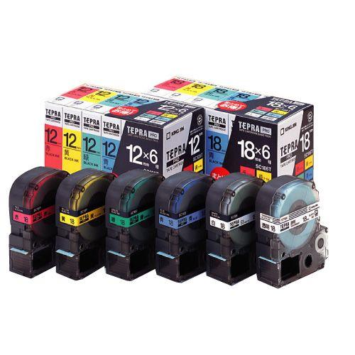 キングジム テープカートリッジ テプラPRO ベーシックタイプ 18mm幅 6個 SC186T