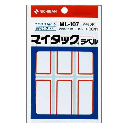 ニチバン マイタック ラベル一般用枠付 赤枠 ML-107