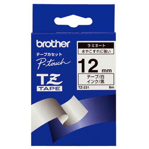 ブラザー テープ ラミネート 12mm 白ラベル黒文字 TZ-231V