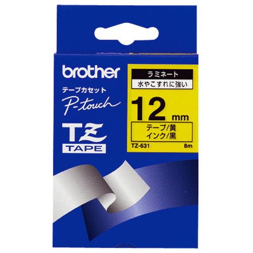 ブラザー テープ ラミネート 12mm 黄ラベル黒文字 TZ-631V