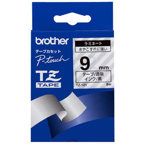 ブラザー テープ ラミネート 9mm 透明ラベル黒文字 TZE-121V