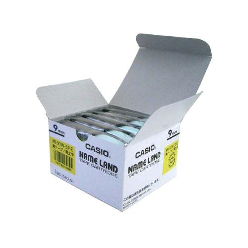 カシオ計算機 テープカートリッジ ネームランド 9mm 黄ラベル黒文字 5P XR-9YW-5PE