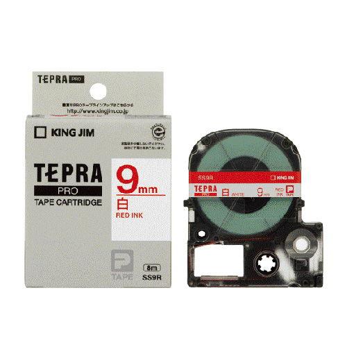 キングジム テープカートリッジ テプラPRO 9mm 白ラベル 赤文字 SS9R