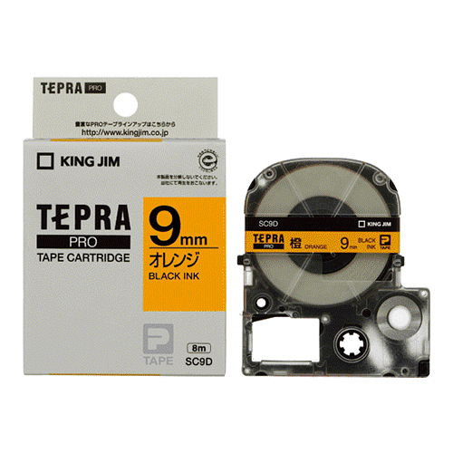 キングジム テープカートリッジ テプラPRO 9mm パステル/オレンジラベル 黒文字 SC9D