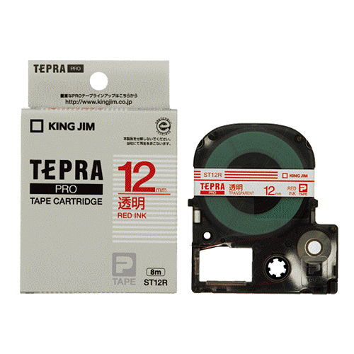 キングジム テープカートリッジ テプラPRO 12mm 透明ラベル 赤文字 ST12R