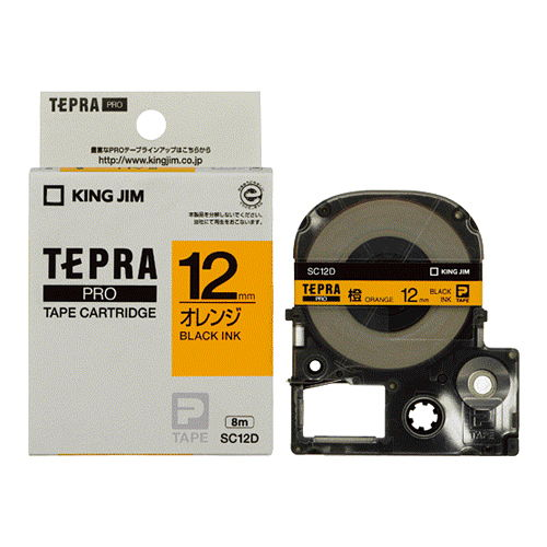 キングジム テープカートリッジ テプラPRO 12mm パステル/オレンジラベル 黒文字 SC12D