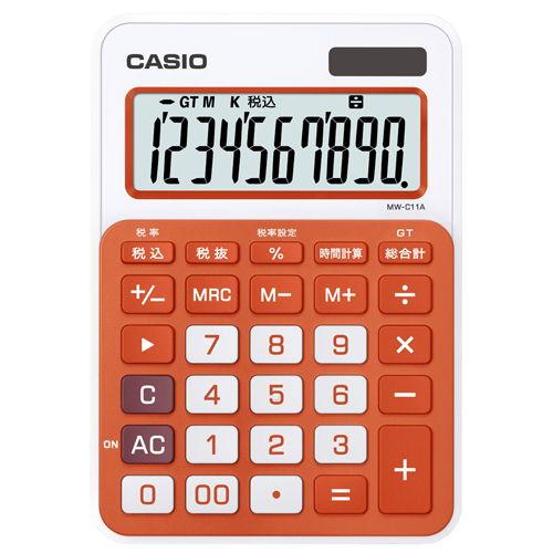 カシオ計算機 カラフル電卓 フレッシュオレンジ MW-C11A-RG MW-C11A-RG-N