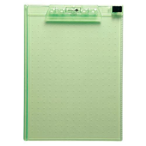 リヒトラブ AQUADROPs クリップボード A4 黄緑 A-5010-6