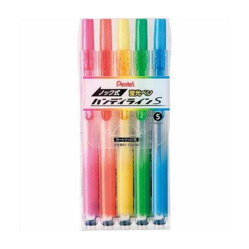 ぺんてる 蛍光ペン ノック式ハンディラインS 5色セット SXNS15-5