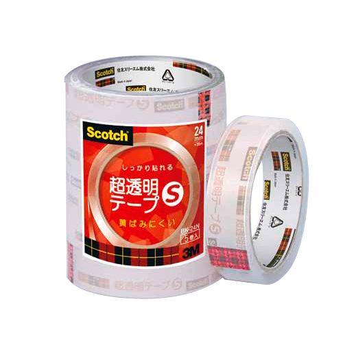 3M スコッチ 超透明テープ 幅24mm 5巻 BK24N