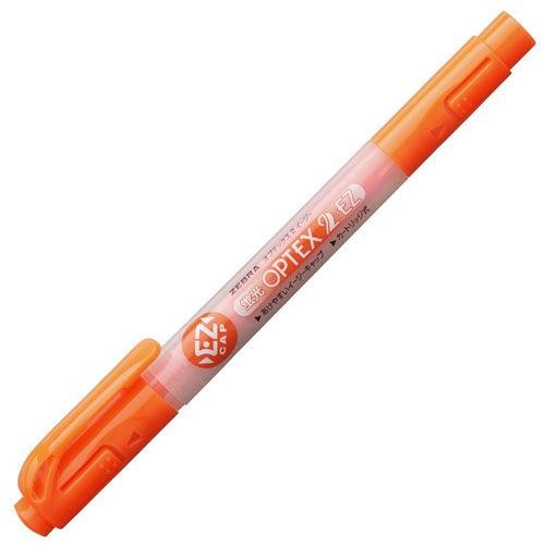 ゼブラ 蛍光ペン 蛍光オプテックス2 EZ 太細両用 オレンジ WKT11-OR