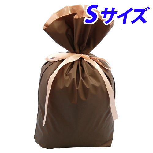 カクケイ 梨地巾着袋 S ブラウン 20枚 FK2412