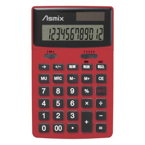 アスカ ビジネスカラー 男電卓 レッド C1235R