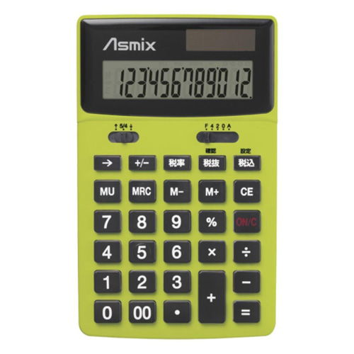 アスカ ビジネスカラー 男電卓 グリーン C1235G