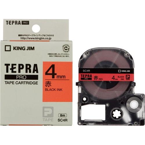 キングジム テープカートリッジ テプラPRO 4mm パステル赤ラベル 黒文字 SC4R
