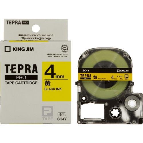 キングジム テープカートリッジ テプラPRO 4mm パステル黄ラベル 黒文字 SC4Y
