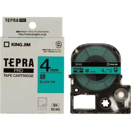 キングジム テープカートリッジ テプラPRO 4mm パステル緑ラベル 黒文字 SC4G
