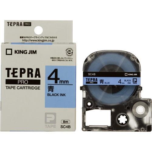 キングジム テープカートリッジ テプラPRO 4mm パステル青ラベル 黒文字 SC4B